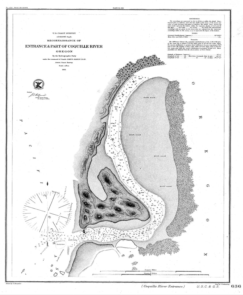 18 x 24 inch 1861 Oregon old nautical map drawing chart of Reconnaissance of Entrance & Part of Coquille River From  U.S. Coast Survey x6502