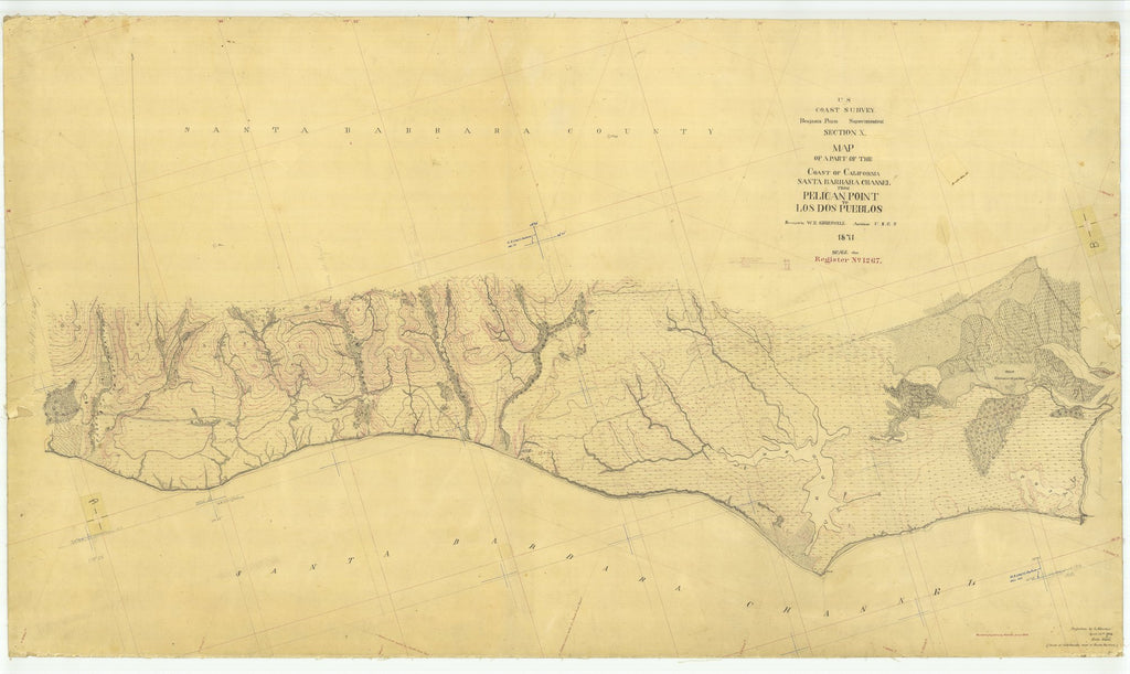 18 x 24 inch 1871 US old nautical map drawing chart of Santa Barbara Channel From Pelican Point to Los Dos Pueblos From  U.S. Coast Survey x2045