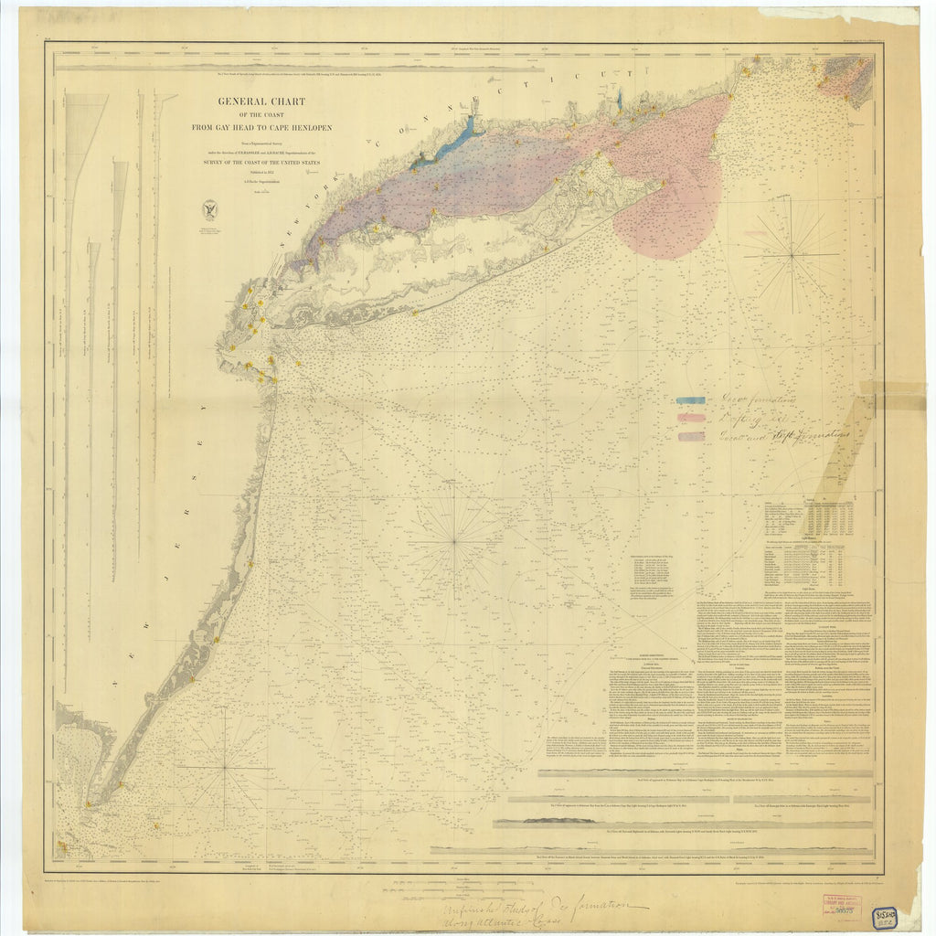 18 x 24 inch 1852 New Jersey old nautical map drawing chart of General Chart of the Coast from Gay Head to Cape Henlopen From  U.S. Coast Survey x6663