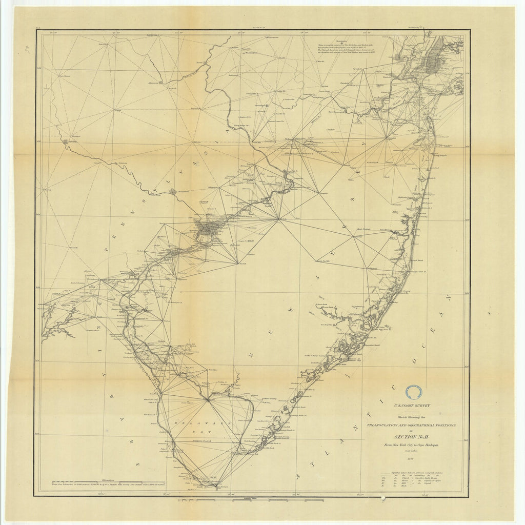 18 x 24 inch 1877 New Jersey old nautical map drawing chart of Triangulation between the Maryland and Georgia Baseline (Southern part) with extension Westward and Triangulation in Tennesse From  U.S. Coast Survey x6669