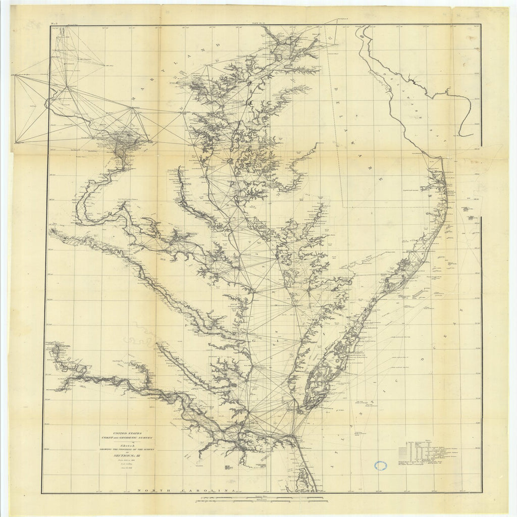 18 x 24 inch 1881 US old nautical map drawing chart of Sketch Showing the Progress of the Survey in Section #3 from 1843 to 1881 From  US Coast & Geodetic Survey x1936