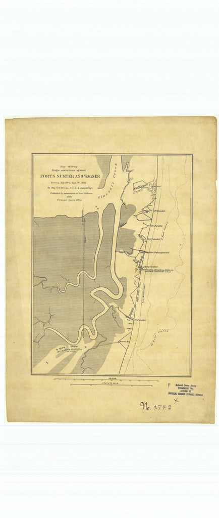 18 x 24 inch 1863 South Carolina old nautical map drawing chart of Map Showing Seige Operations Against Forts Sumter and Wagner between July 13th and September 7th 1863 From  U.S. Coast Survey x7554