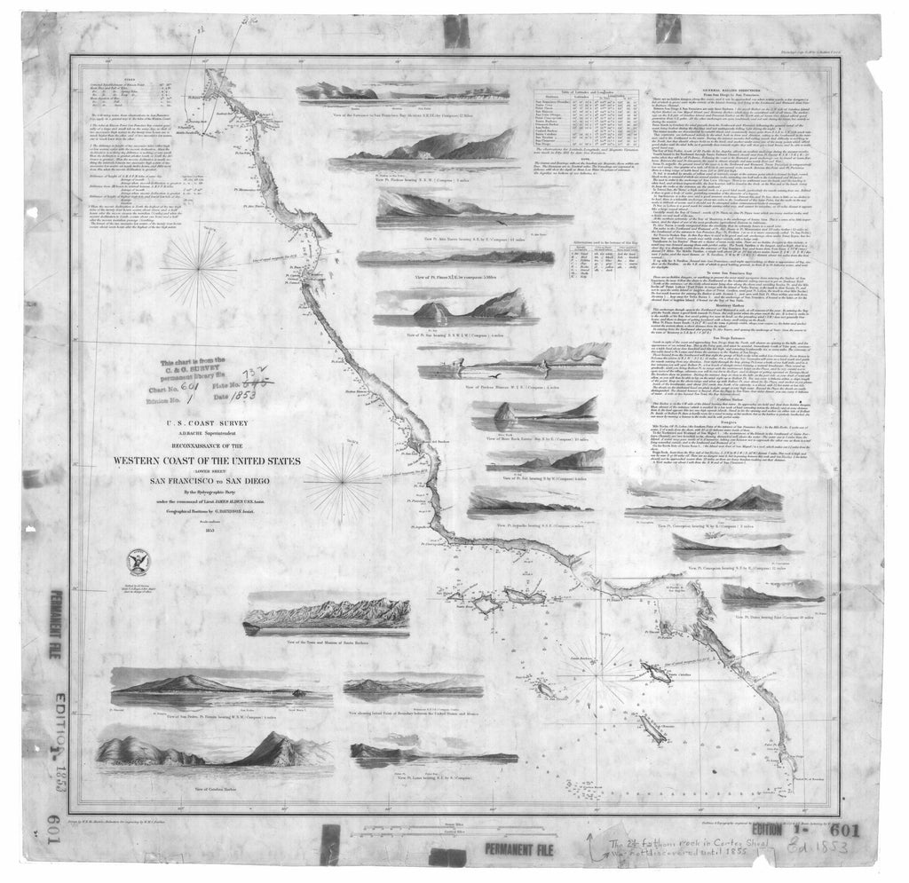 18 x 24 inch 1853 California old nautical map drawing chart of Western Coast of the United States San Francisco to San Diego Lower Sheet From  U.S. Coast Survey x9782