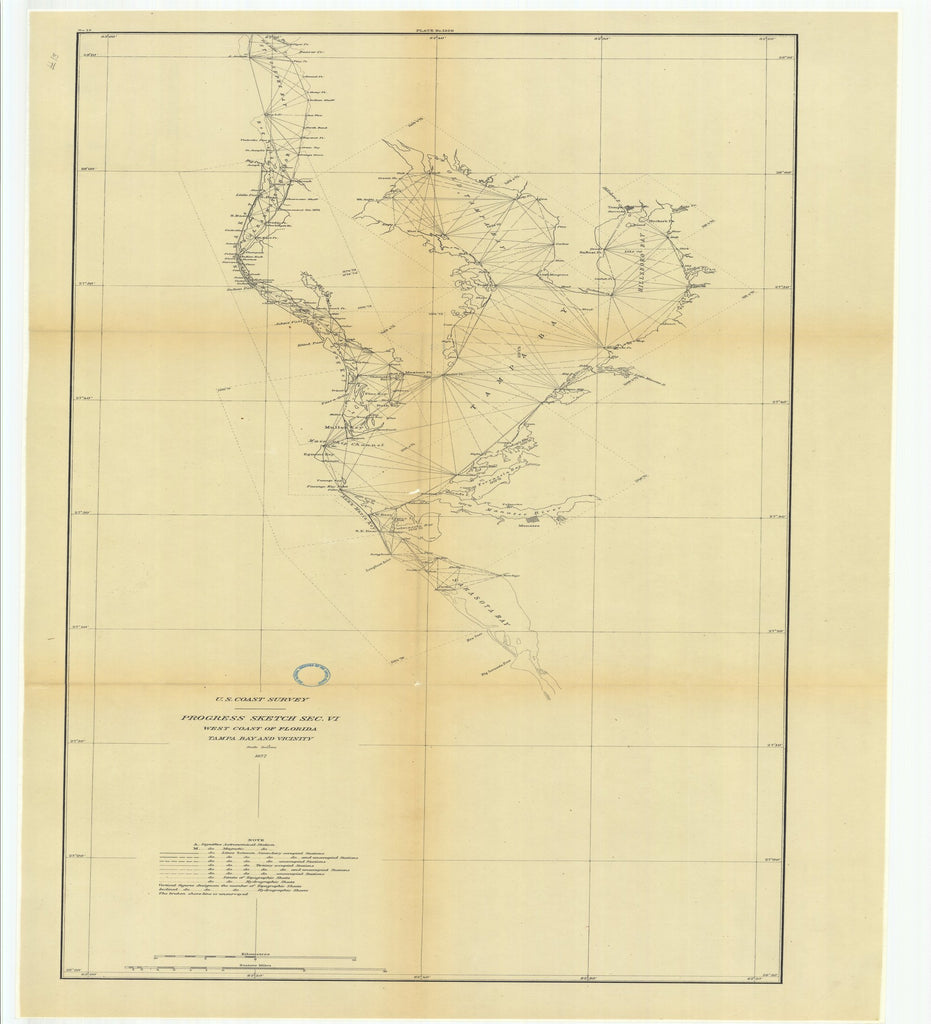 18 x 24 inch 1877 US old nautical map drawing chart of Progress Sketch, Section 6, West Coast of Florida, Tampa Bay and Vicinity From  U.S. Coast Survey x2537