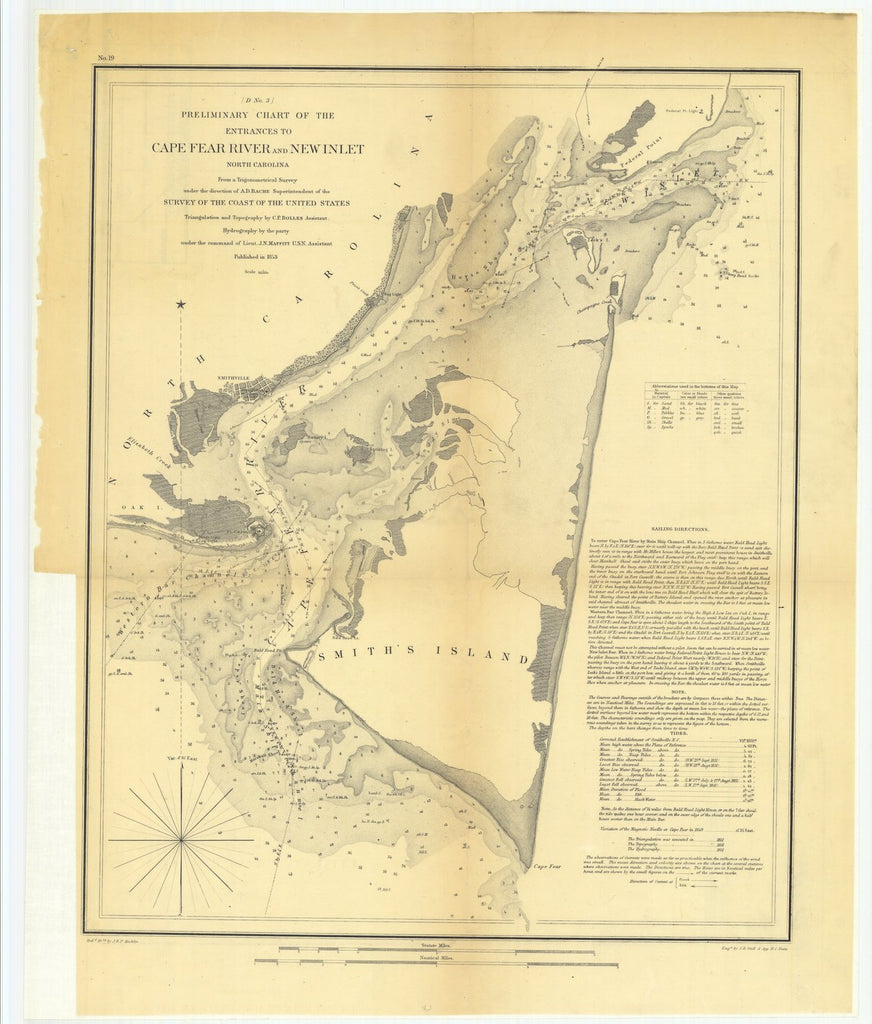 18 x 24 inch 1853 US old nautical map drawing chart of Preliminary Chart of the Entrances to Cape Fear River and New Inlet, North Carolina From  U.S. Coast Survey x5928