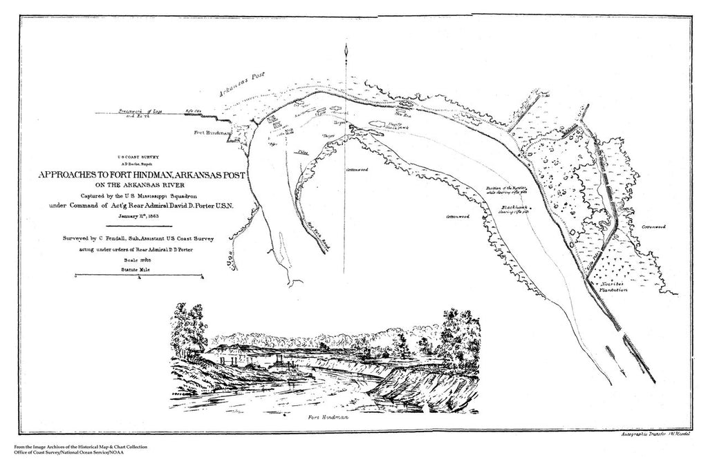 18 x 24 inch 1863 US old nautical map drawing chart of Approaches to Fort Hindman, Arkansas Post - 1863 From  U.S. Coast Survey x248