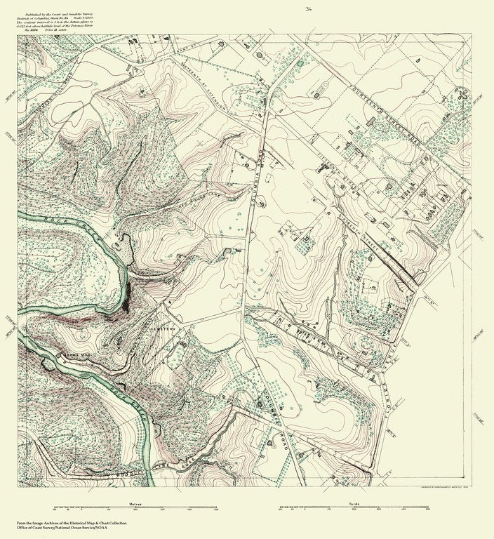 18 x 24 inch 1888 US old nautical map drawing chart of Topographic Map of Washington and Vicinity, Sheet 34 From  NOAA x383