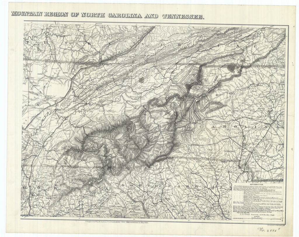 18 x 24 inch 1864 US old nautical map drawing chart of Mountain Region of North Carolina and Tennessee From  : U.S. Coast Survey x968