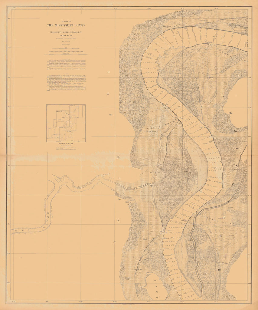 18 x 24 inch 1880 US old nautical map drawing chart of SURVEY OF THE MISSISSIPPI RIVER From  Mississippi River Commission x2378