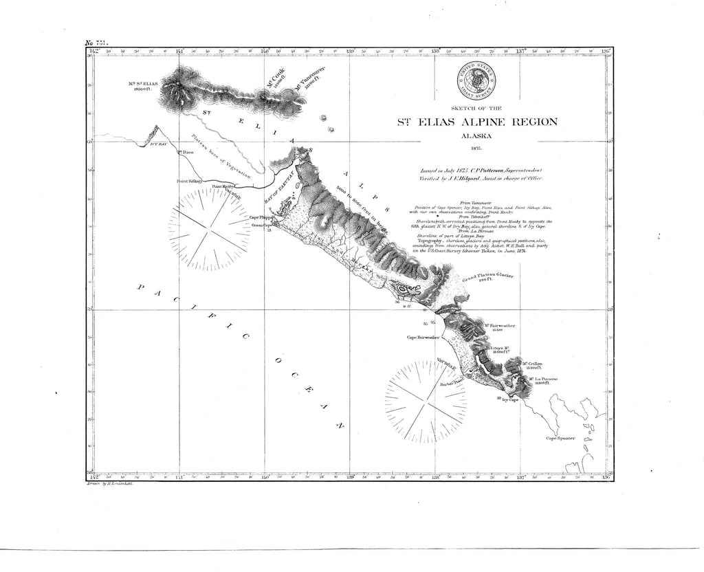 18 x 24 inch 1875 US old nautical map drawing chart of St. Elias Alpine Region From  NOAA x2175
