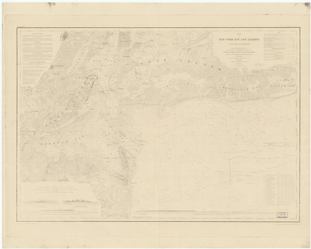 18 x 24 inch 1845 New York old nautical map drawing chart of MAP OF NEW YORK BAY AND HARBOR AND THE ENVIRONS. From  US Coast & Geodetic Survey x7024