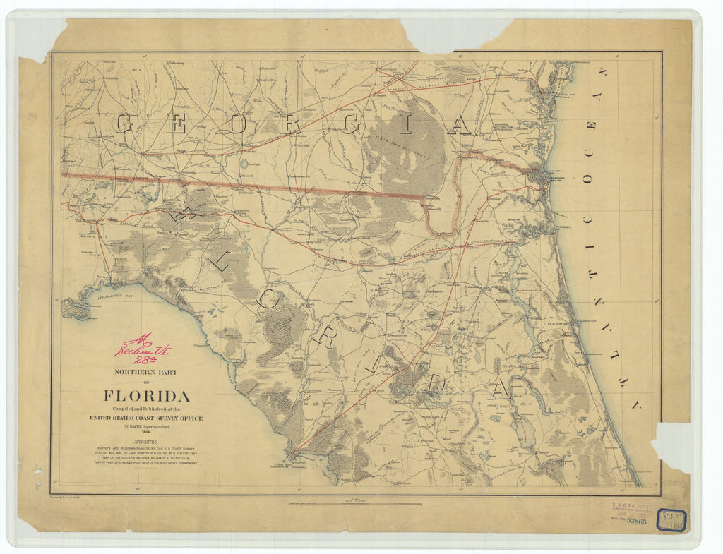 18 x 24 inch 1864 US old nautical map drawing chart of Northern Part of Florida From  U.S. Coast Survey x978