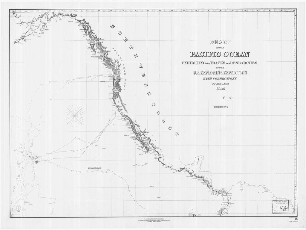 18 x 24 inch 1844 US old nautical map drawing chart of CHART OF THE PACIFIC OCEAN EXHIBITING THE TRACKS AND RESEARCHES OF THE US EXPLORING EXPEDITION From  NOAA x1212