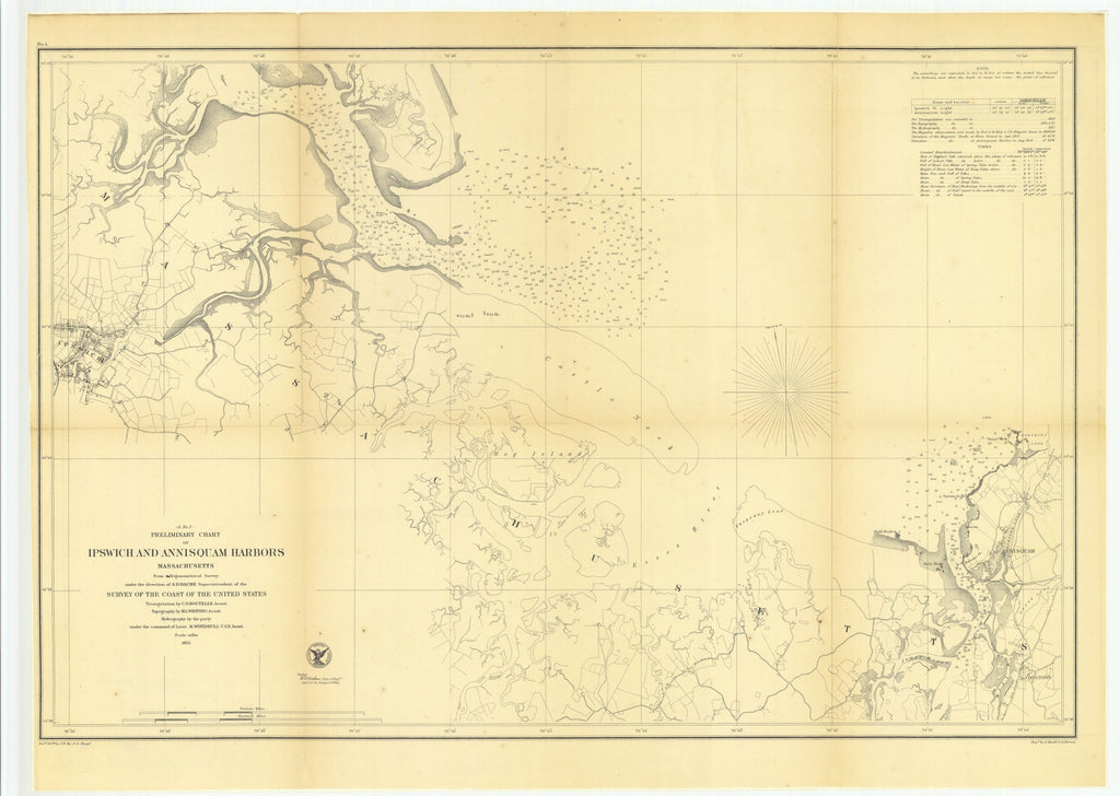 18 x 24 inch 1855 US old nautical map drawing chart of Preliminary Chart of Ipswich and Annisquam Harbors, Massachusetts From  U.S. Coast Survey x2713