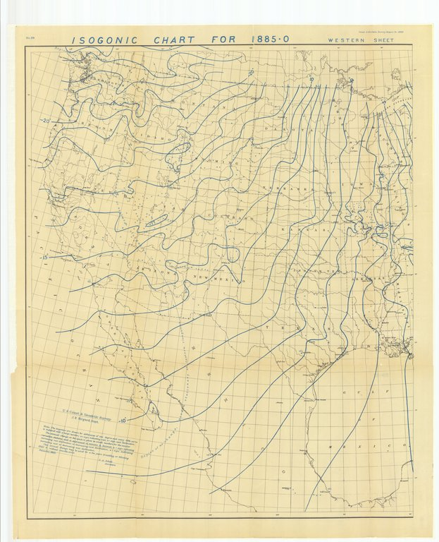 18 x 24 inch 1882 US old nautical map drawing chart of Isogonic Chart for 1885-0 Western Sheet From  US Coast & Geodetic Survey x1834