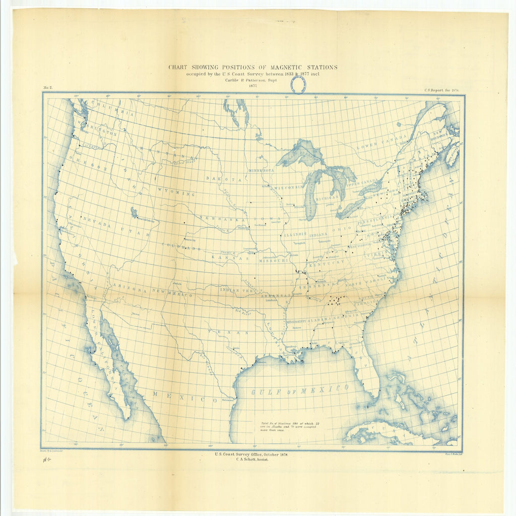 18 x 24 inch 1878 North Dakota old nautical map drawing chart of Chart Showing Positions of Magnetic Stations Occupied by the U.S. Coast Survey Between 1833 and 1877 From  U.S. Coast Survey x6614