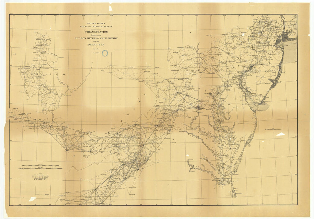 18 x 24 inch 1884 Ohio old nautical map drawing chart of Triangulation Between the Hudson River and Cape Henry and the Ohio River From  US Coast & Geodetic Survey x6754
