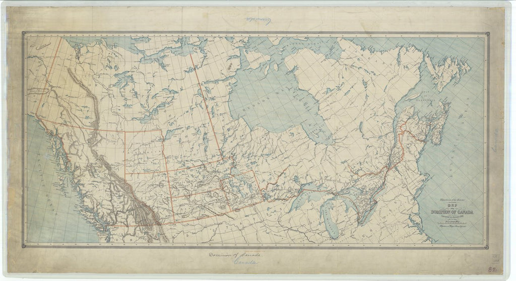 18 x 24 inch 1887 Washington old nautical map drawing chart of Map of the Dominion of Canada From  Department of the Interior x11754