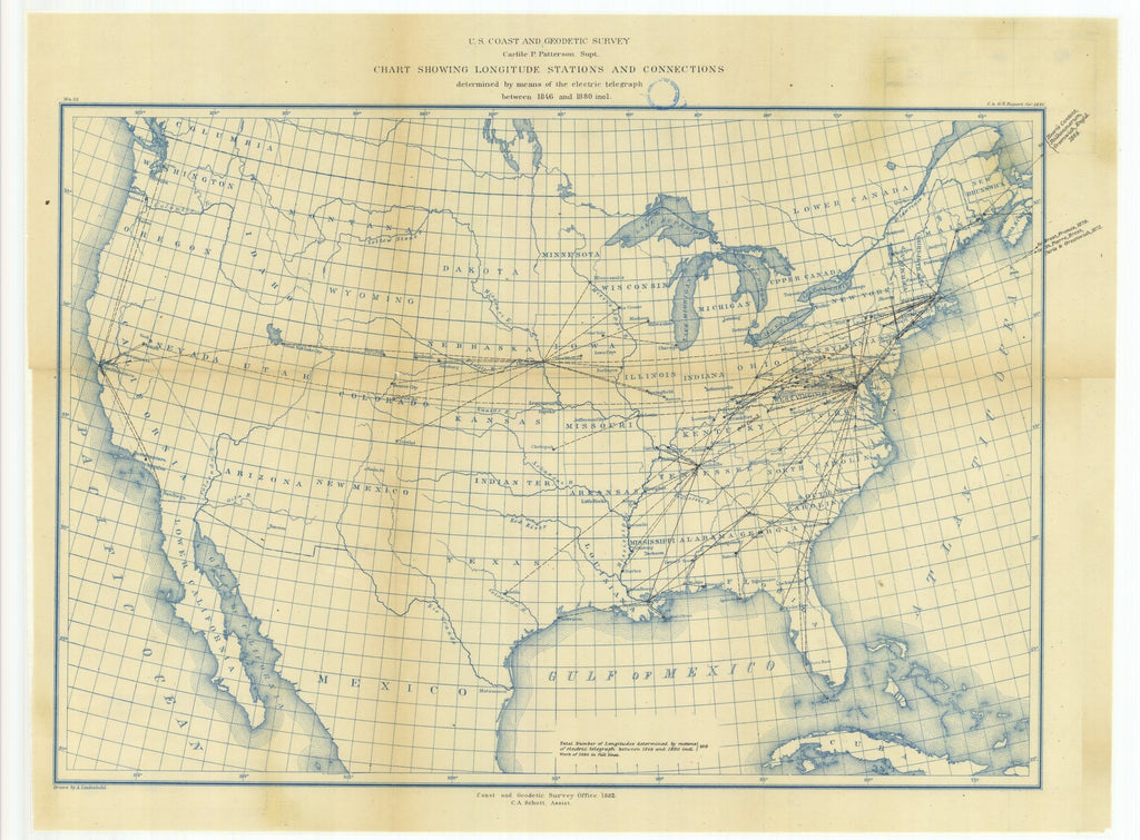 18 x 24 inch 1880 US old nautical map drawing chart of Chart Showing Longitude Stations and Connections Determined by Means of the Electric Telegraph Between 1846 and 1880 From  US Coast & Geodetic Survey x1463