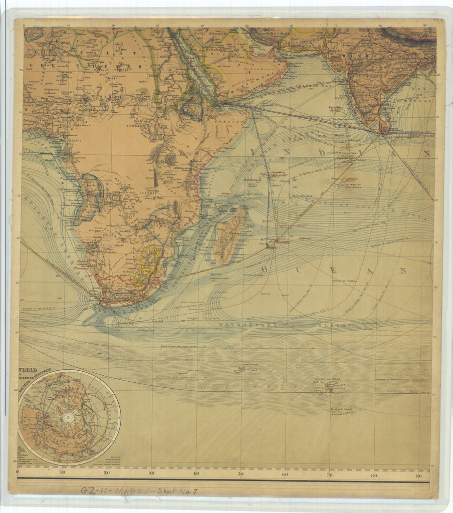 18 x 24 inch 1867 WORLD old nautical map drawing chart of Chart of the World on Mercators Projection with Lines of Equal Magnetic Declination From  Justus Perthes x11812