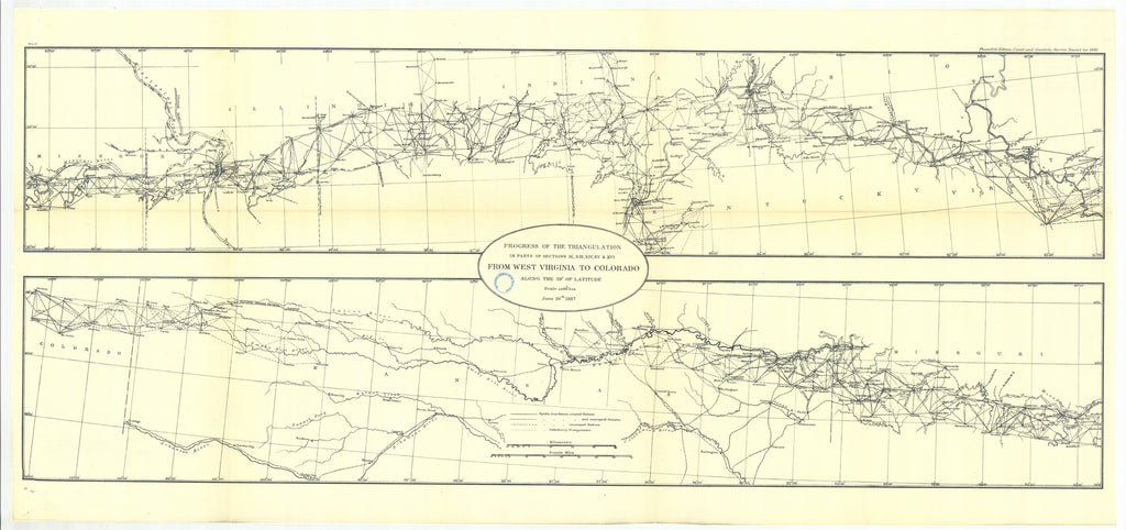 18 x 24 inch 1887 US old nautical map drawing chart of Progress of the triangulation From West Virgina to Colorado From  US Coast & Geodetic Survey x1571