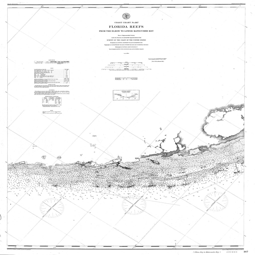 18 x 24 inch 1878 US old nautical map drawing chart of Navigation Chart of the Florida Reefs from the Elbo to Lower Matecumbe Key From  C&GS x2091