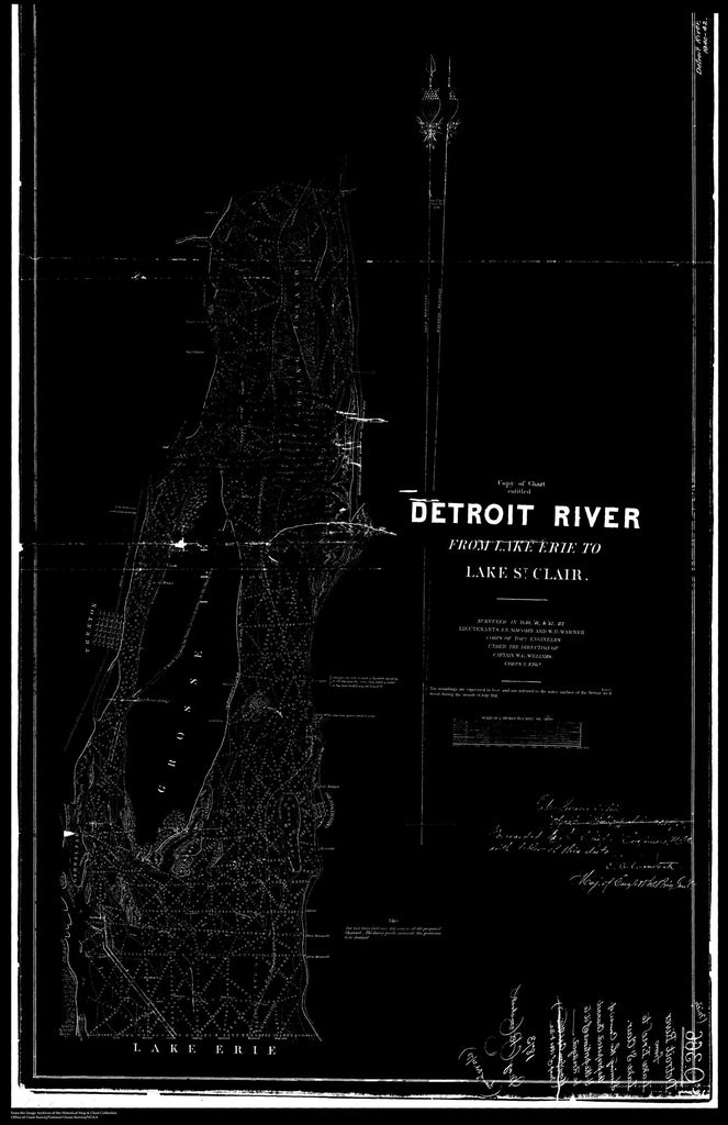 18 x 24 inch 1841 US old nautical map drawing chart of Detriot River From  Corps of Engineers x3648
