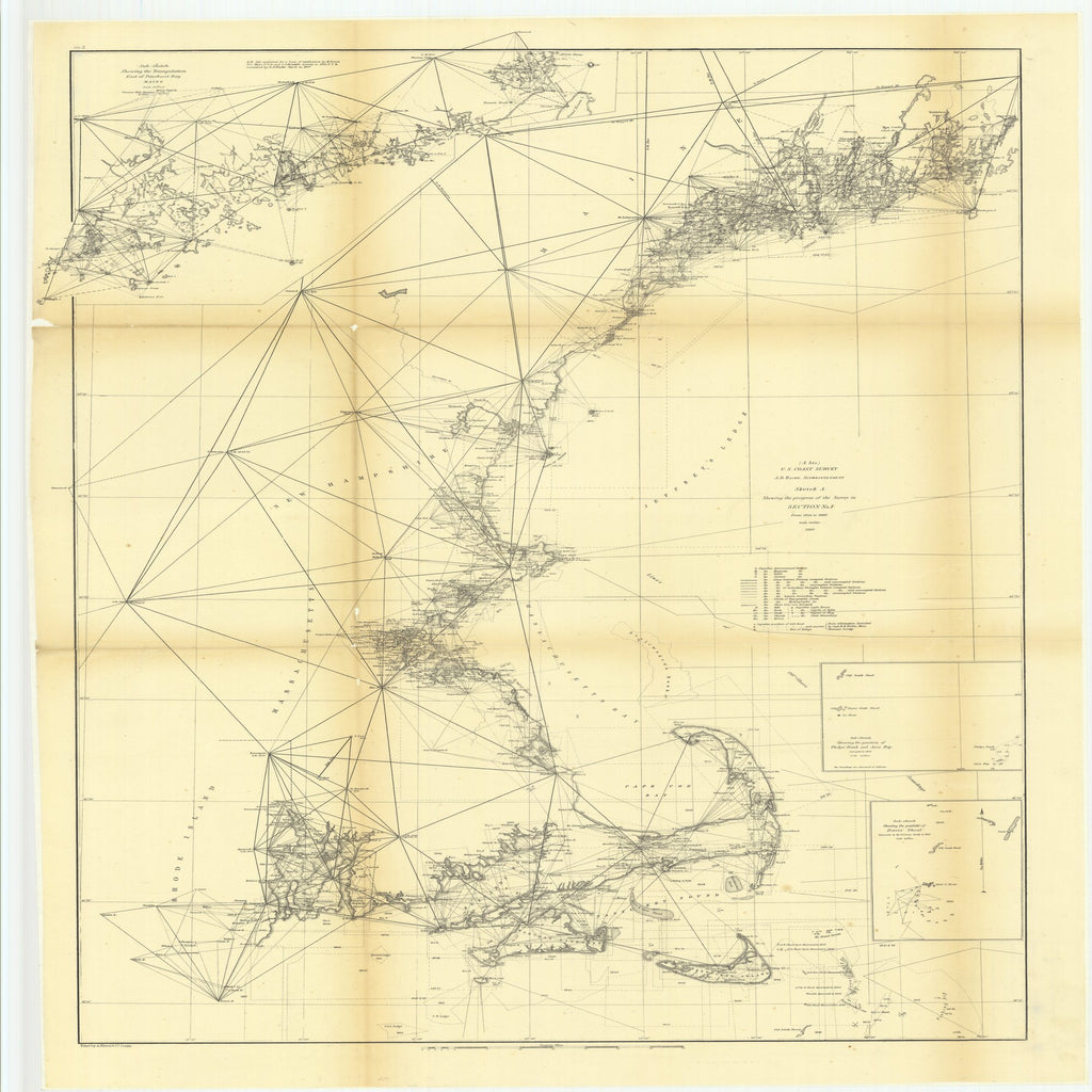 18 x 24 inch 1860 Rhode  Island old nautical map drawing chart of Sketch A Showing the Progress of the Survey in Section Number 1 from 1844 to 1860 with Sub Sketch Showing the Position of Davis' ShoalÉ From  U.S. Coast Survey x8874