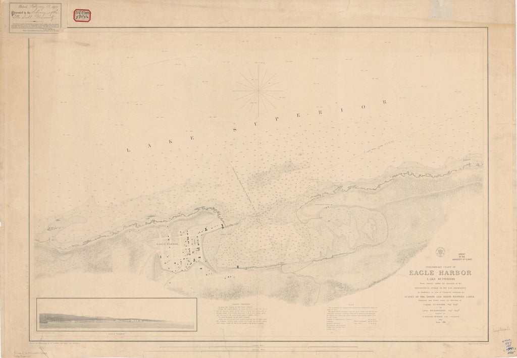 18 x 24 inch 1855 US old nautical map drawing chart of PRELIMINARY CHART OF EAGLE HARBOR From  U.S. Lake Survey x3599