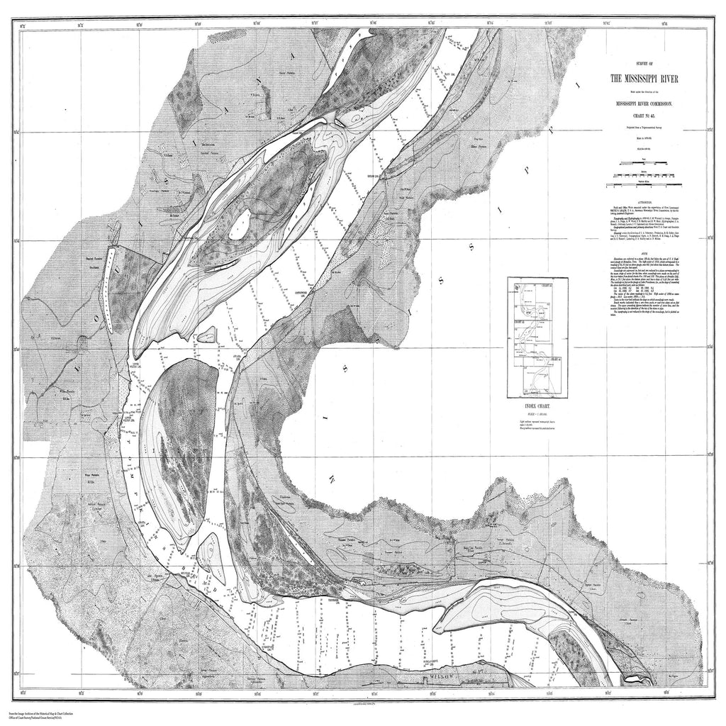 18 x 24 inch 1879 US old nautical map drawing chart of Survey of the Mississippi River From  Mississippi River Commission x2366