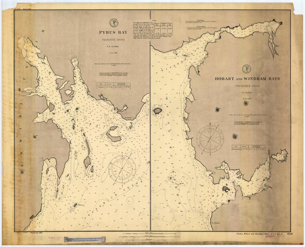 18 x 24 inch 1892 US old nautical map drawing chart of Pybus, Hobart & Windham Bays, AK From  US Coast & Geodetic Survey x898