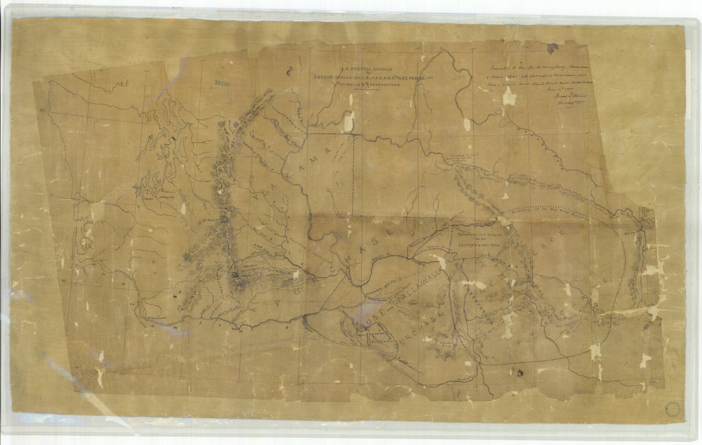 18 x 24 inch 1855 Washington old nautical map drawing chart of A Sketch showing the Cayuse Walla Walla Yakama and Nez Perce From  : NOAA x11789