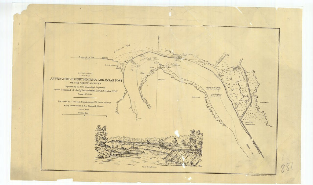 18 x 24 inch 1863 US old nautical map drawing chart of Approaches to Fort Hindman Arkansas Post on the Arkansas River From  U.S. Coast Survey x249