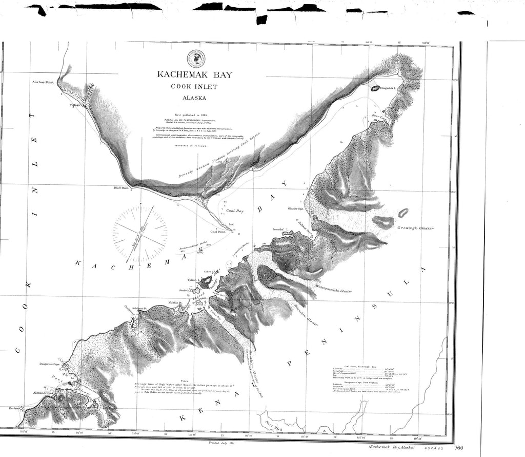 18 x 24 inch 1891 US old nautical map drawing chart of Kachemak Bay From  C&GS x2602