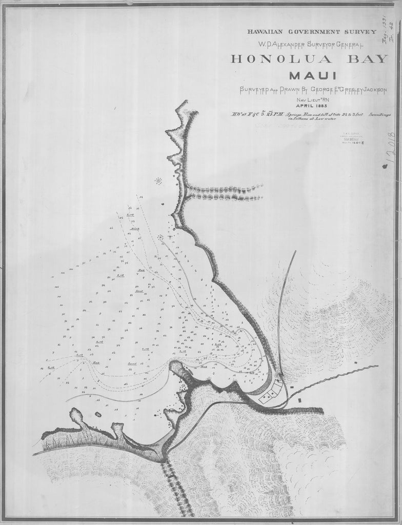 18 x 24 inch 1885 US old nautical map drawing chart of HONOLUA BAY MAUI From  Hawaiian Government Survey x1204