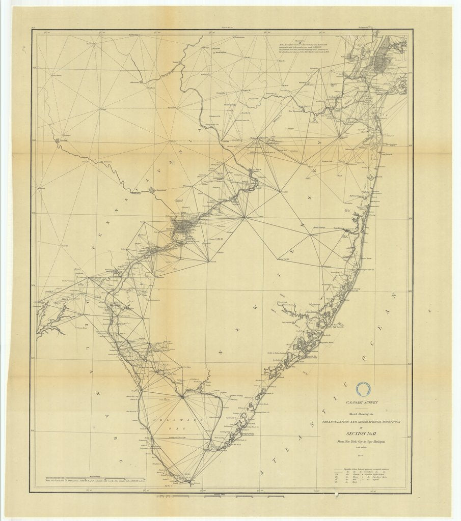 18 x 24 inch 1877 US old nautical map drawing chart of Triangulation between the Maryland and Georgia Baseline (Southern part) with extension Westward and Triangulation in Tennesse From  U.S. Coast Survey x940