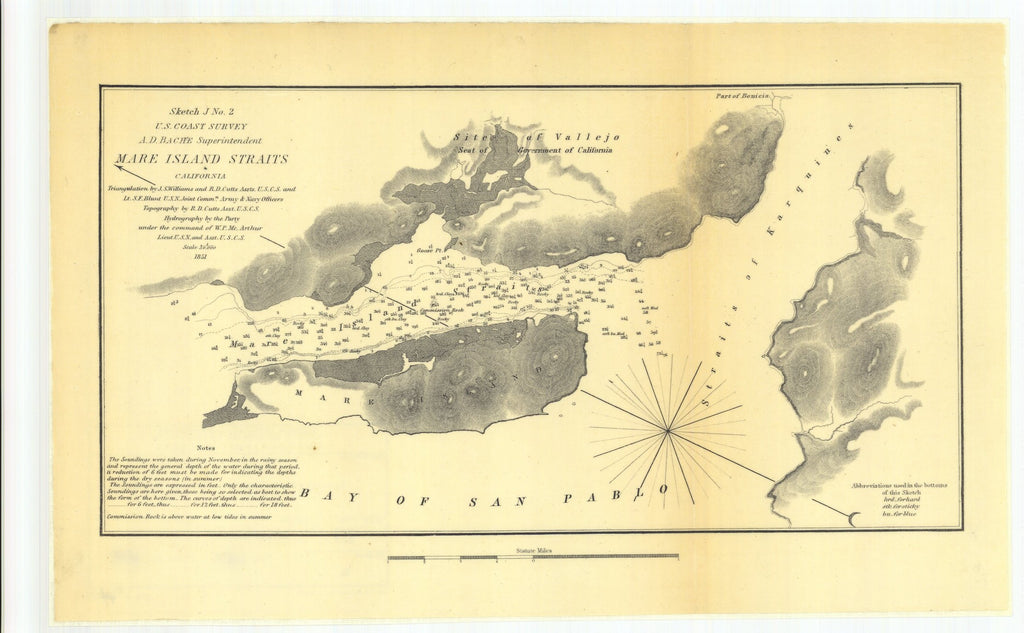 18 x 24 inch 1851 US old nautical map drawing chart of Mare Island Straits California From  U.S. Coast Survey x4628