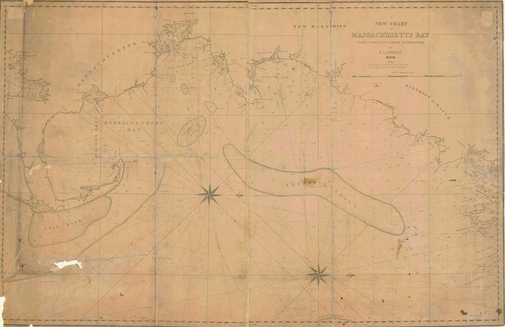 18 x 24 inch 1812 New Hampshire old nautical map drawing chart of MASSACHUSETTS BAY From  NOAA-NOS x6244