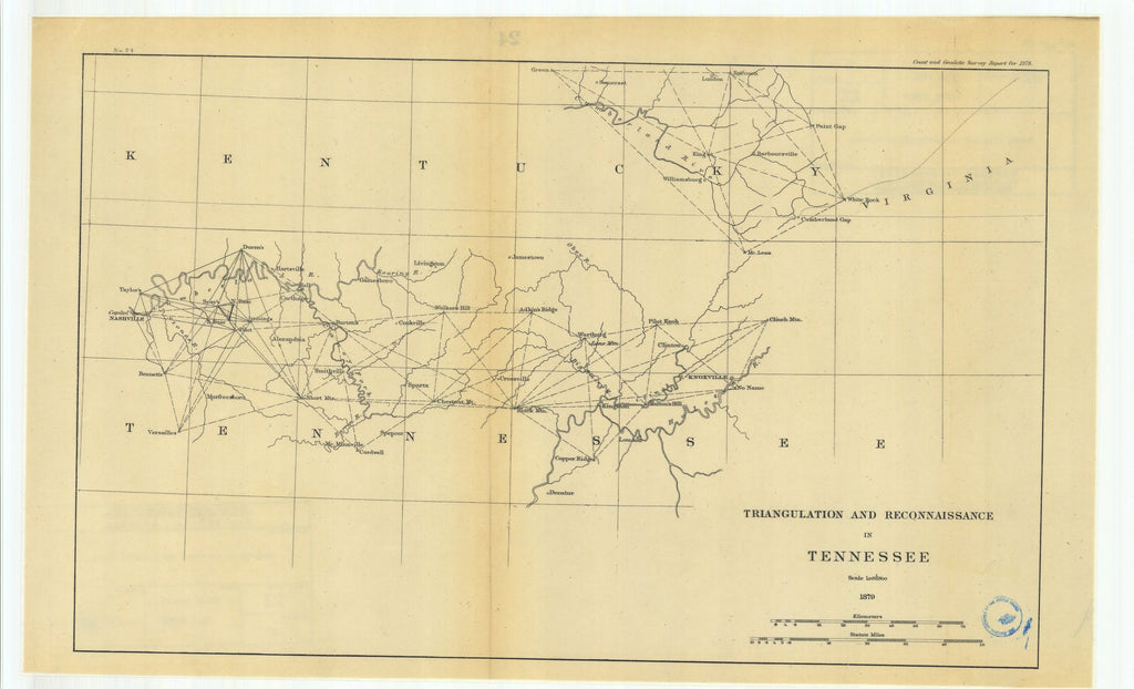 18 x 24 inch 1879 US old nautical map drawing chart of Triangulation and Reconnaissance in Tennessee From   U.S. Coast Survey x1441