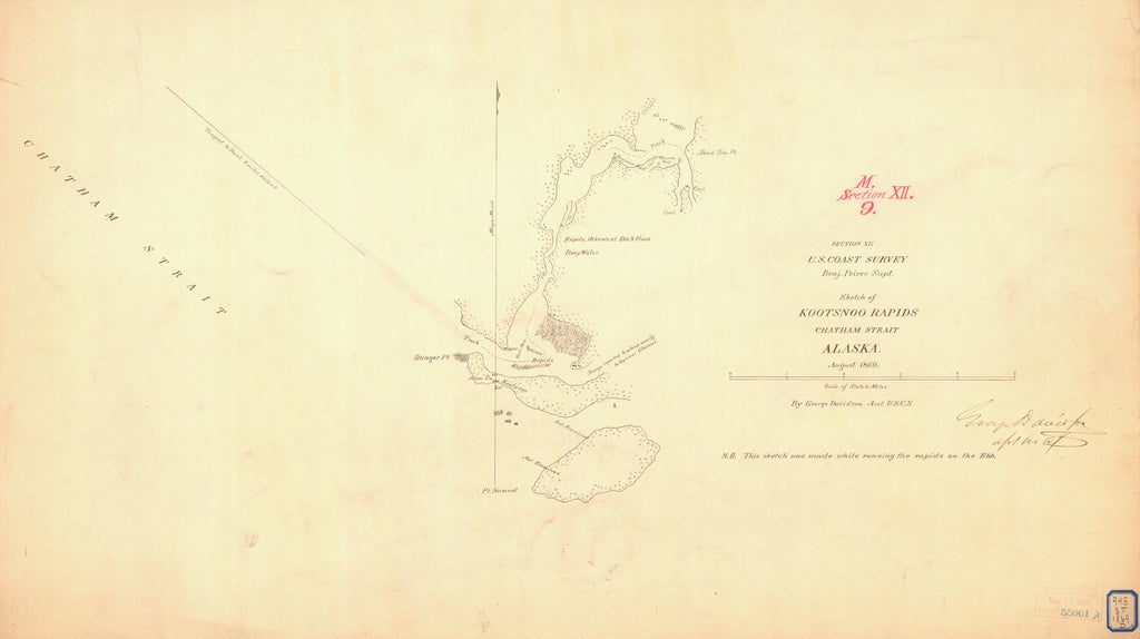 18 x 24 inch 1869 US old nautical map drawing chart of KOOTSNOO RAPIDS CHATHAM STRAIT From  U.S. Coast Survey x1395