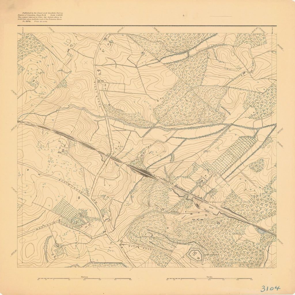 18 x 24 inch 1893 US old nautical map drawing chart of SURVEY OF POTOMAC REGION From  US Coast & Geodetic Survey x1583