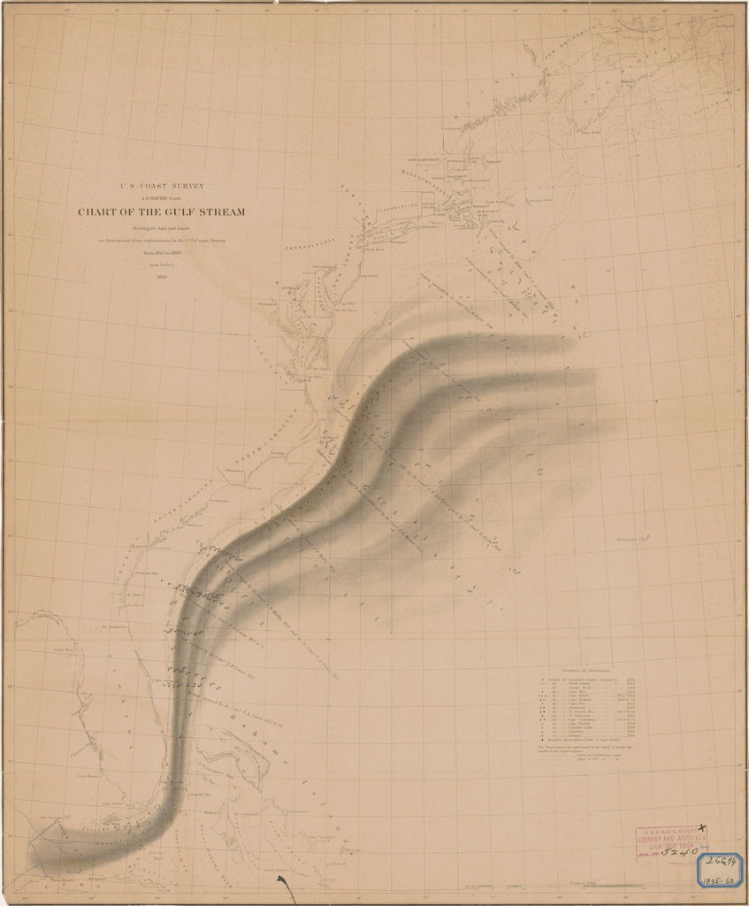 18 x 24 inch 1860 US old nautical map drawing chart of CHART OF THE GULF STREAM From  U.S. Coast Survey x4029