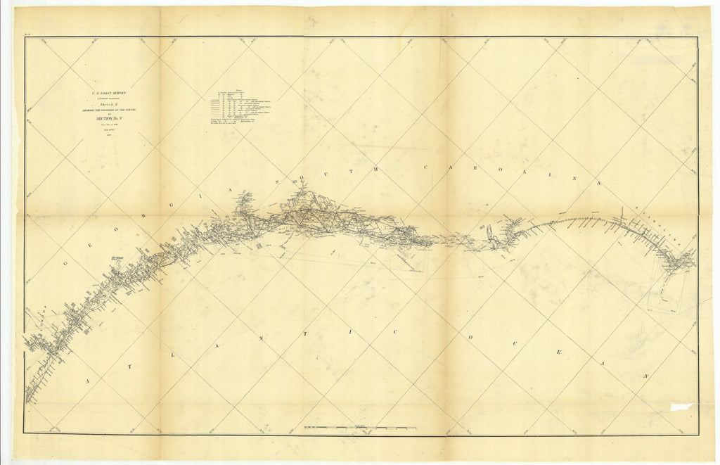 18 x 24 inch 1873 US old nautical map drawing chart of Sketch E Showing the Progress of the Survey in Section Number 5 from 1847 to 1873 From  U.S. Coast Survey x955