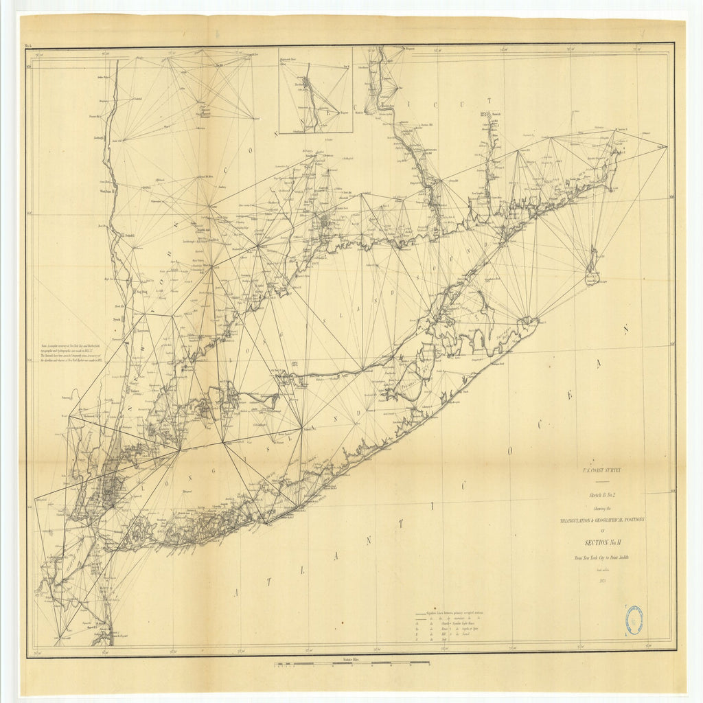 18 x 24 inch 1875 New Jersey old nautical map drawing chart of Sketch B Number 2 Showing the Triangulation and Geographical Positions in Section Number 2 from New York City to Point Judith From  U.S. Coast Survey x6668