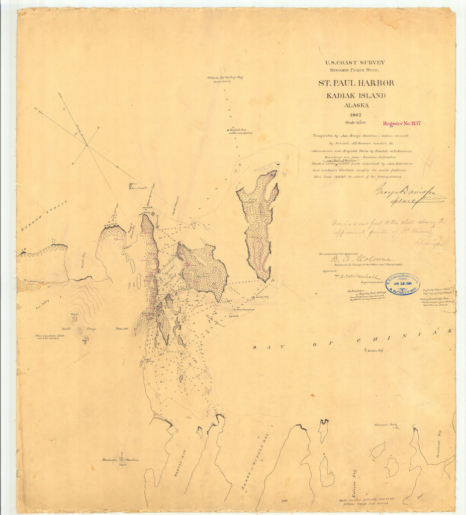 18 x 24 inch 1867 US old nautical map drawing chart of St. Paul Harbor Kadiak Island Alaska From  U.S. Coast Survey x887