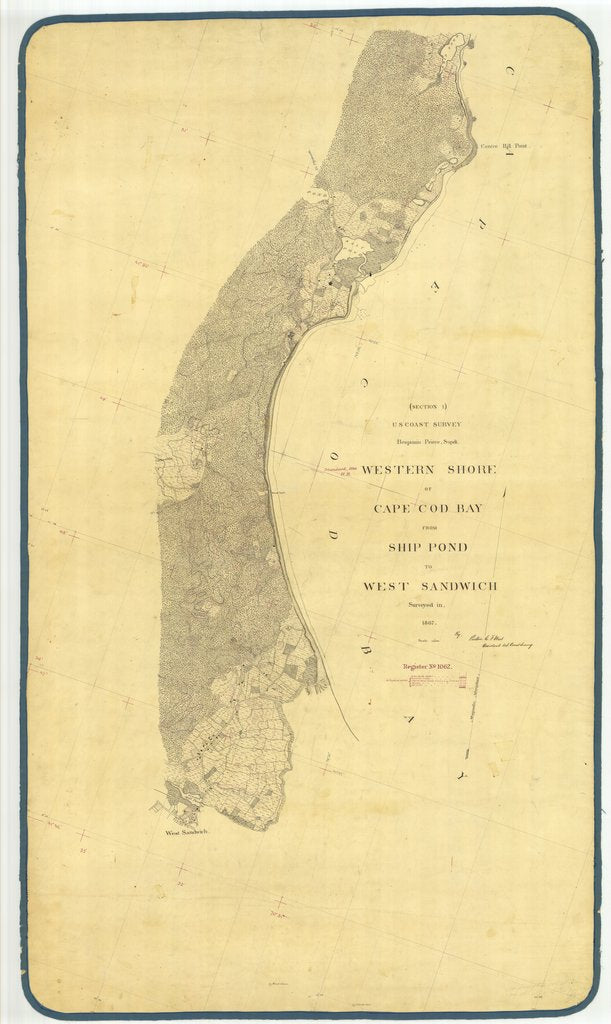 18 x 24 inch 1867 US old nautical map drawing chart of Western Shore of Cape Cod Bay From Ship Pond to West Sandwich From  U.S. Coast Survey x2220