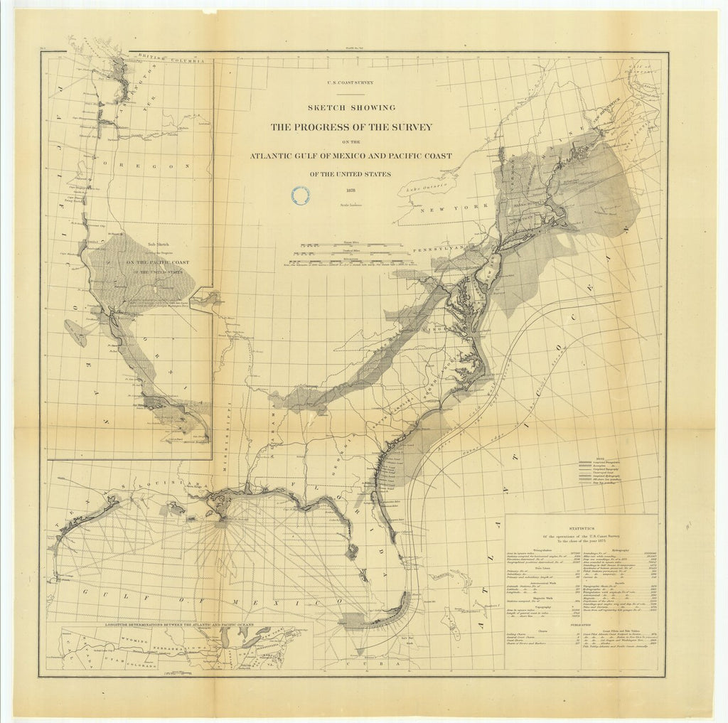 18 x 24 inch 1878 US old nautical map drawing chart of Sketch Showing the Progress of the Survey on the Atlantic Gulf of Mexico and Pacific Coast of the United States and.. From  US Coast & Geodetic Survey x531