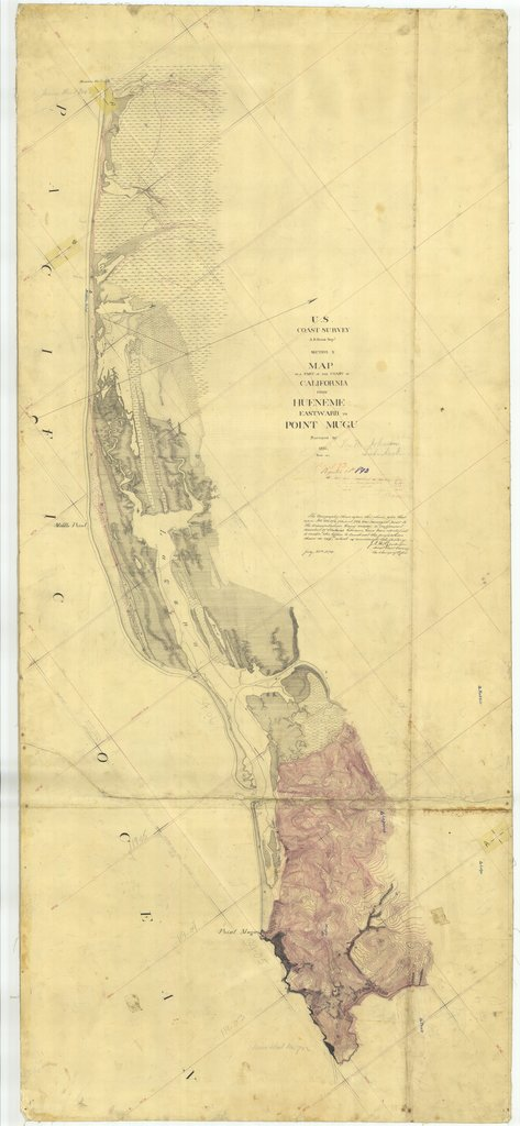 18 x 24 inch 1857 US old nautical map drawing chart of From Hueneme Eastward to Point Mugu, CA From  U.S. Coast Survey x1666