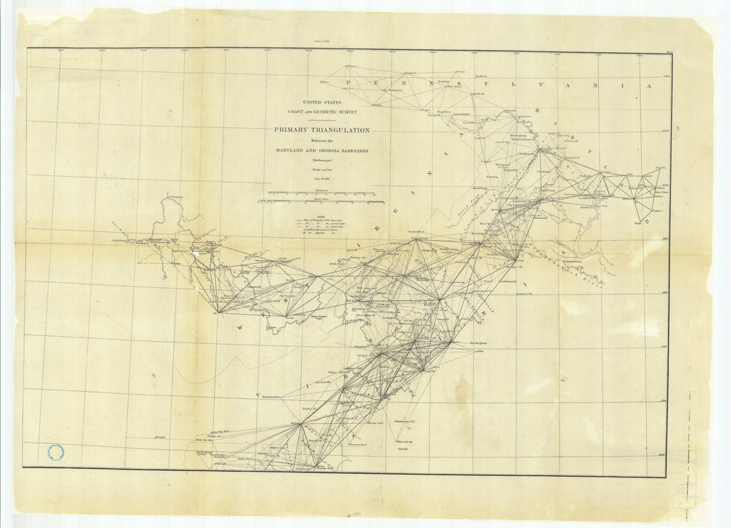 18 x 24 inch 1881 US old nautical map drawing chart of Primary Triangulation Between the Maryland and Georgia Base-Lines, Northern Part From  US Coast & Geodetic Survey x994