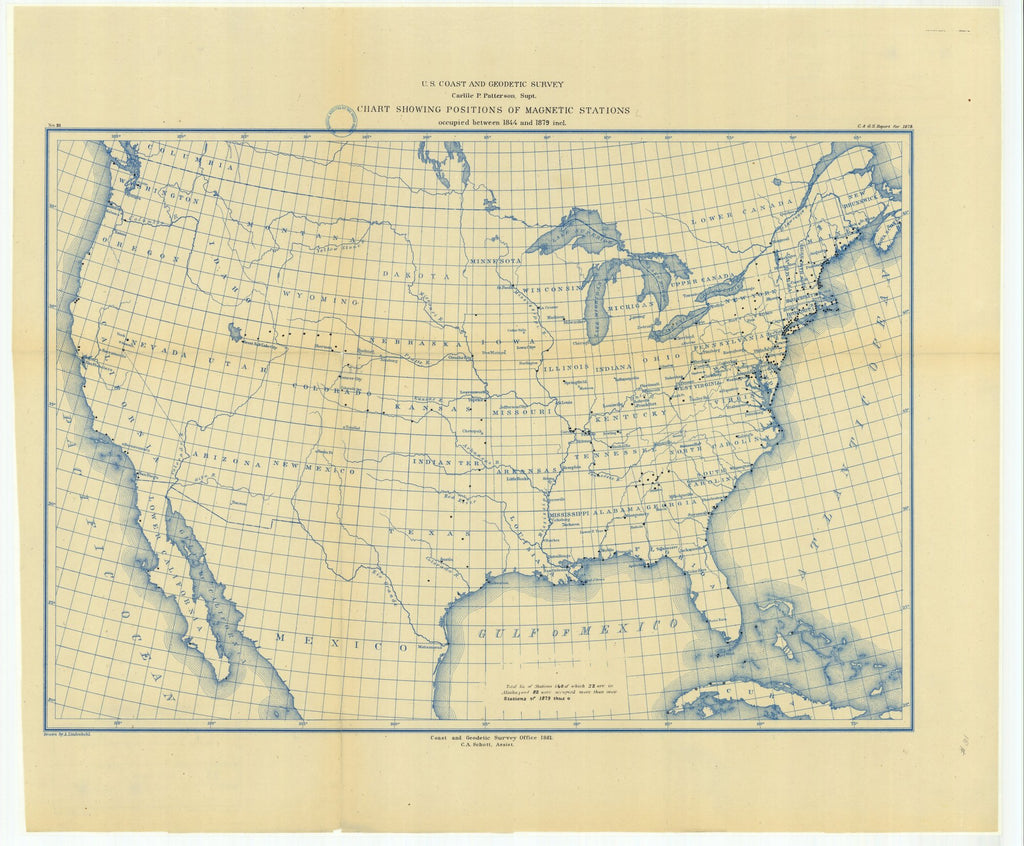 18 x 24 inch 1879 US old nautical map drawing chart of Chart Showing Positions of Magnetic Stations Occupied Between 1844 and 1879 Included From  US Coast & Geodetic Survey x2193